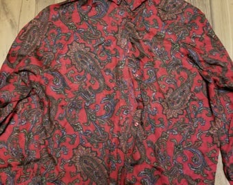 Vintage Women's Red Dress Shirt Size 16 Rayon
