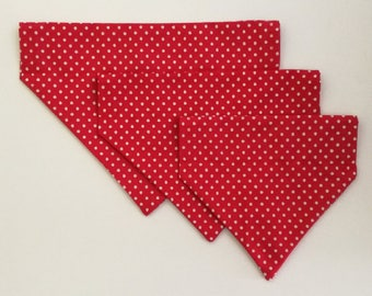 Red and white polka dot over the collar pet bandana available in small, medium, and large