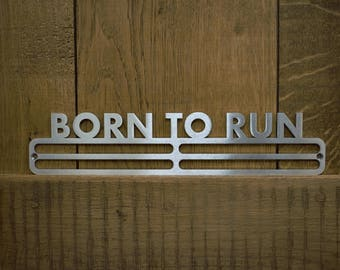 Medal Hanger Display 'Born To Run' Stainless Steel