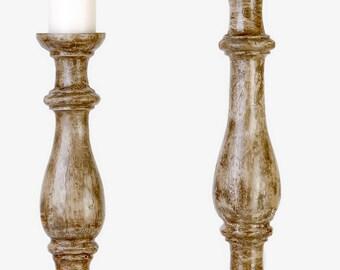 Rustic wood candlestick holders