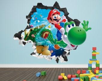 Super Mario Galaxy Yoshi Decal 3D Kids Sticker Art Decor Vinyl Character Door Smashed - 3D Sticker - Broken Wall Decal AH62