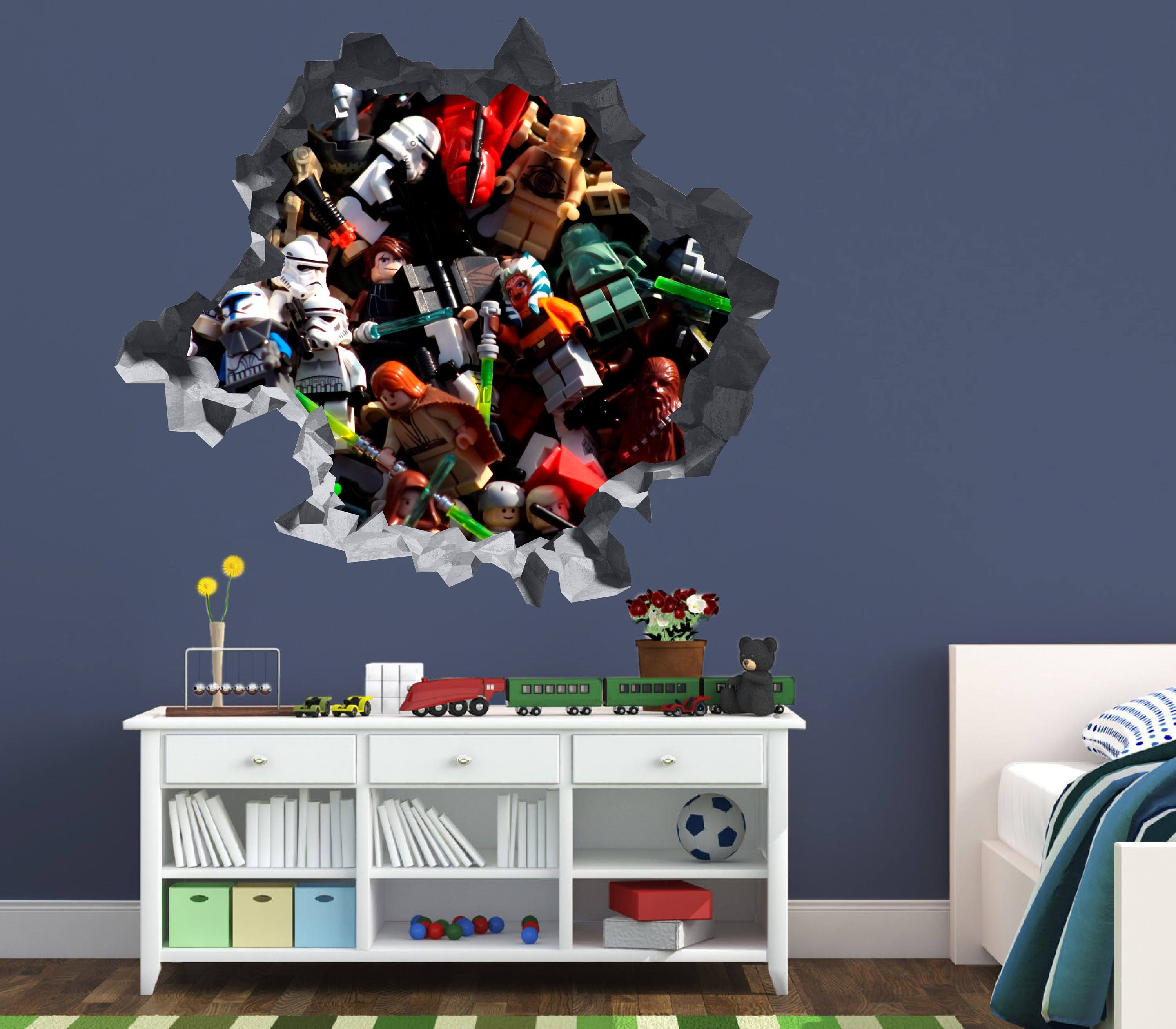 Lego Star Wars Characters Wall Decal Sticker Vinyl Decor Smashed 3D OP86
