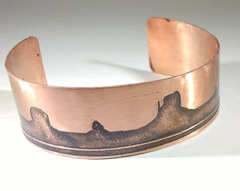 Monument Valley Copper Wrist Cuff, Southwestern Copper Wrist Cuff, Etched Copper Wrist Cuff, Landscape Designed Wrist Cuff