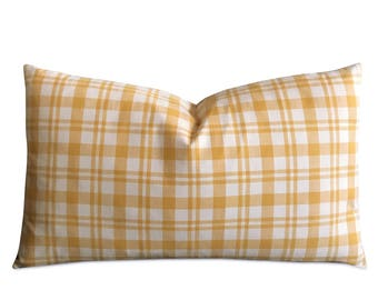 "13"" x 22"" Yellow Plaid Pillow Cover - Eastern Accents Plaid Pillow Cover"