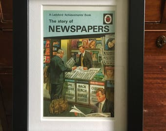 Retro Ladybird Book cover Framed. Newspapers