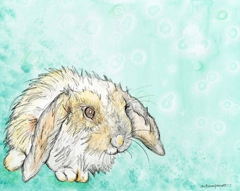 Lop Eared Rabbit (original watercolor and ink painting)