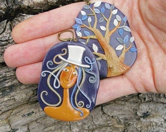 Fairyland Earrings - Fairy and Tree - Unusual Earrings - Fantasy Art Jewelry - Mismatched Earrings - Woodland Jewelry - Fantasy Earrings