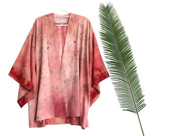 Mid silk kimono robe duster: Red, pink, dusty rose, sleeve tunic drape natural shrug paint print floral