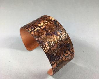 Unique etched patterned copper bracelet or cuff