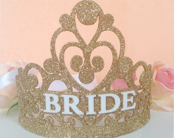 Bachelorette Party Bride Crown - Bridal Shower Crown - Glitter Bridal Shower Crown - Bachelorette Party Tiara - Personalized Gift
