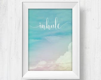inhale, yoga poster art, inhale print, printable yoga art, inhale exhale print, yoga wall posters, yoga studio decor, yoga bedroom decor