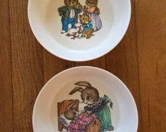 Vintage Three Bears and Peter Rabbit Melamine Melmac Bowls by Oneida