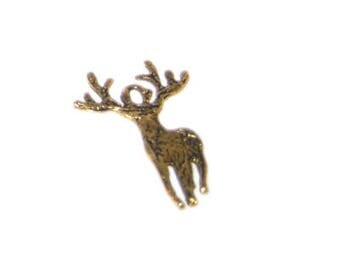 20 x 28mm Gold Reindeer Metal Charm / Pendant