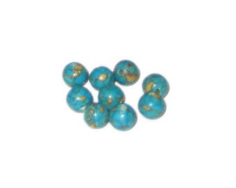 Approx. 1oz. 6mm Reconstituted Dyed Turquoise Beads