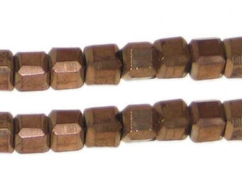 6mm Copper Faceted Square Crystal Bead, 15 Beads