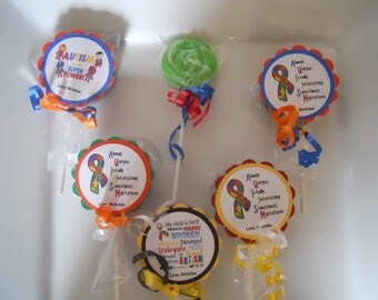 24 Autism Awareness Swirl Lollipop Candy Favors Theme Birthday School Personalized Party Favors with custom tags