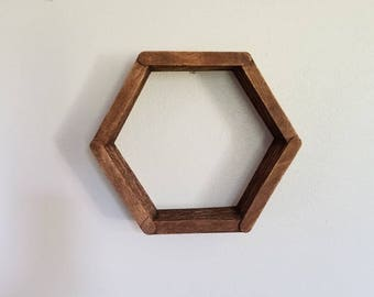 Honeycomb shelf - made out of popsicle sticks!