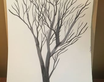 """Tree of Life - 8.5 x 12"""" black and white pen and ink drawing"""
