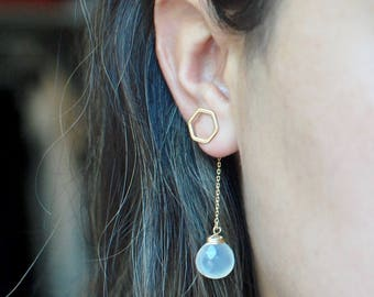 Hexagon Chalcedony Stud Earrings // Bridesmaid Gifts // Gifts for Her // Unique Earring Backs // Gemstone Drop Studs