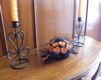 Crochet centerpieces, Halloween decoration, crochet floral composition