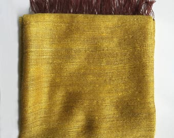 Handwoven Mohair Blanket / Throw - Glowing Golden Yellow (Single bed size)