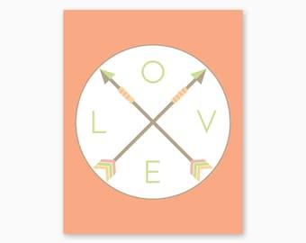 TRIBAL PRINTABLE, Love Arrows Art, Nursery Printables, Tribal Nursery, Boho Nursery, Baby Girl Gift, Girl Nursery Decor, Instant Download
