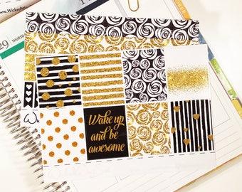 Gold Glitter Planner Sticker, Mini kit, weekly kit, full box, Erin Condren Planner  And Happy Planner