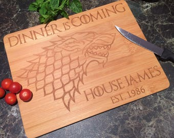 Game Of Thrones Inspired Custom Chopping Board - Dinner Is Coming - Laser Engraved