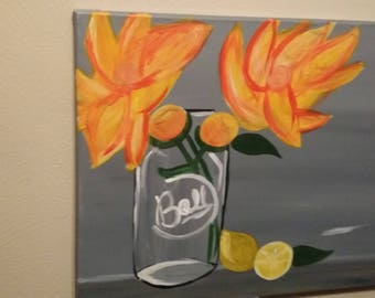 Fresh lemons and Flowers - Art by Brittany. This item is great for a fresh citrus decor in the kitchen!