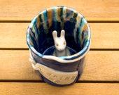 Ceramic Tumbler, Mug, drink me, Alice in Wonderland, Blue tumbler, gift, birthday, christmas, gift for her, White Rabbit, bunny, Lewis Carro
