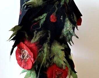 Black women wool felted scarf with poppy flower Merino wool large wrap Felted women accessory Poppy flower wool brooch Black felt shawl