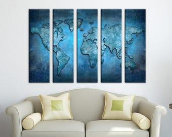 Home decor world map canvas Blue World map Canvas wall art Canvas World map Wall Art Canvas Print Wall decor Art canvas Travel world map