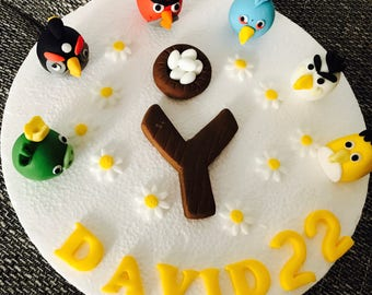 Edible angry bird cake topper with name&age, 10 blossoms everything in the picture handmade