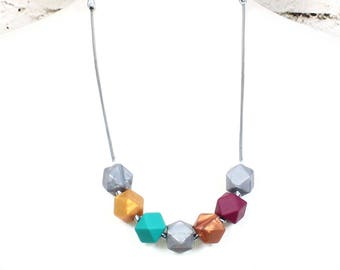 Alice Geo Beads Silicone Teething Necklace