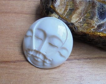 35 mm Moon Face Pendant, Triple Face Bead, Bali Bone Carving Jewelry MF 16NP5