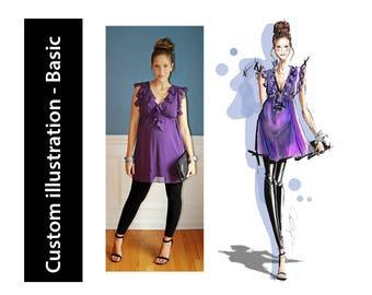 Custom fashion illustration, digital art - Basic