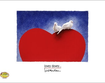 Will Bullas / art print / lovey dovey... / humor / animals / doves / Valentines Day