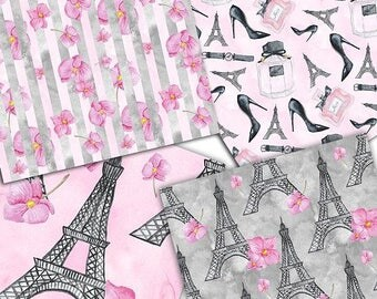 set of seamless backgrounds French Fashion
