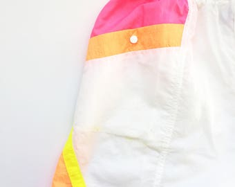 90s neon shorts - athletic beachwear - white pink orange