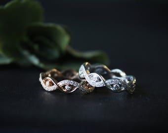 Natural Diamond infinity ring , Wedding band , Natural Diamond Modern Ring