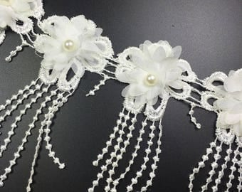15 Yards Wholesale White Embroidery Lace Fringe Trim with Chiffon Beaded Flower For Lyrical Dance, Costume or Jewelry Design,Wedding ,Dress