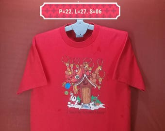 Vintage Chrismast Shirt Sof Tee Shirt Red Colour Size XL Made In Usa Shirt Animation Shirt