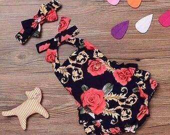 Baby floral backless, halterneck playsuit
