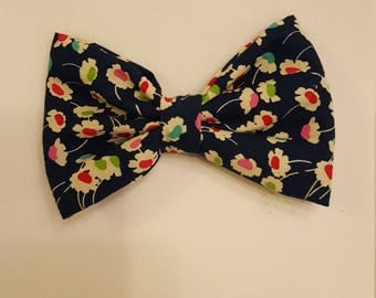Stunning,hair bows, children's, adult's,  fashion, clips, hair, ,Liberty of London, floral, flowers, elegant, navy blue, nice occasion,