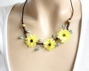 Necklace floral yellow green and Brown