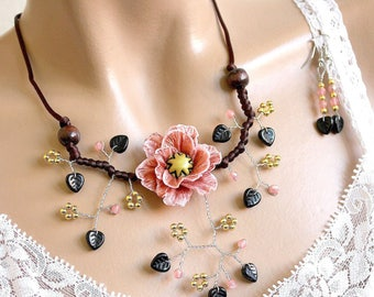 Rose gold flower adornment and black