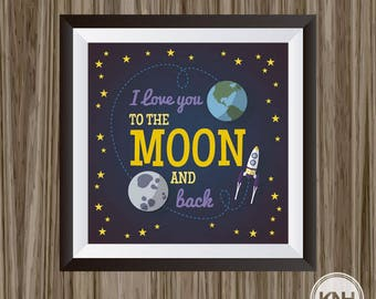 I Love You To The Moon And Back Nursery Decor, Neutral Nursery Decor,  I Love You To The Moon And Back Quote, Baby Room Decor