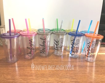 Wedding Part Tumblers - Water Cups with Straw - Bridal Party Gifts - Set of 12 Bridal Party Tumblers - Can be customized for teachers