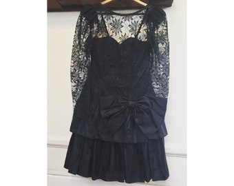 1980's ruffle and lace party dress