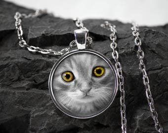 Cat Glass Pendant cat necklace cat jewelry photo pendant art pendant photo jewelry art jewelry silver glass jewelry